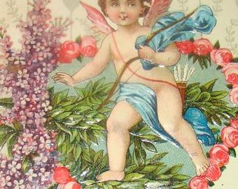LAST CHANCE SALE Nice Embossed Vintage Valentine Postcard (Cherub)