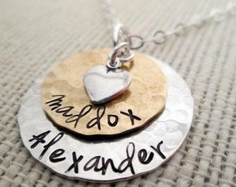 Grandma Necklace - Mom Necklace - hand stamped necklace - personalized necklace - mothers necklace