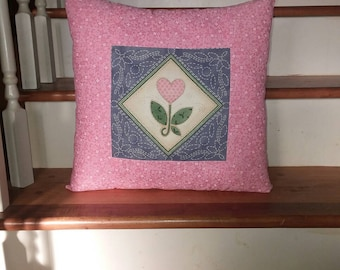 Heart Flower Quilt Style Throw Pillow Cushion Pink Blue