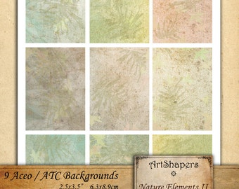 NATURE ELEMENTS 2 - Aceo backgrounds, jewelry holders,instant download paper,digital collage sheet DCS8