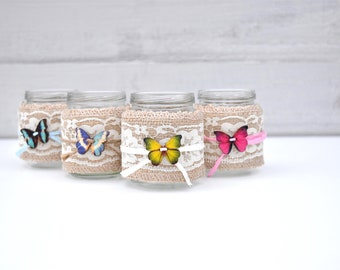 Set of 4 Rustic Burlap/Lace/Twine Butterfly Glass Jars for Flowers/Candy Bar/Dessert Bar