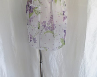 Vintage half apron, sheer purple white floral, 60s, housewife costume, waitress, Mothers Day gift, kitchen decor, hostess wear