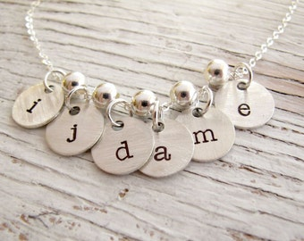 Christmas Gift, Hand Stamped Initial Necklace, Grandmother necklace, Mother Necklace, Personalized, Kids Initials