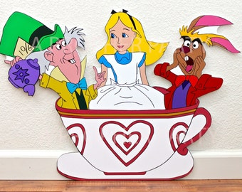 Alice in Wonderland - Alice in Wonderland Party - Tea cup ride - Alice teacup - Mad Hatter - Character cut out