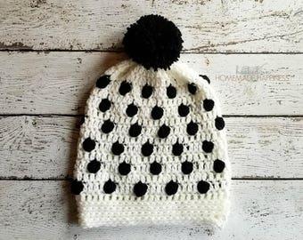 Crochet Beanie PATTERN - Bobble Beanie Pattern - Bobble Stitch Beanie - Girl's Crochet Beanie - Crochet Hat - Slouchy Beanie - Slouchy Hat