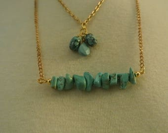 Turquoise  Three Bead Necklace