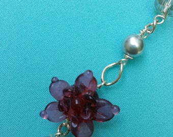 Handmade Pretty Delicate Lampwork Flower & Crystal Beaded Three Strand Necklace