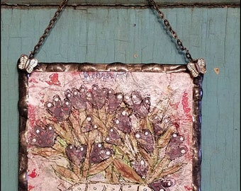 Canvas Painting Primitive Cottage Style Soldered Mixed Media Art Collage Hickety Pickety Funky Unique Whimsical Naive (1)