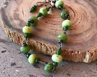 Canadian Jade Bracelet, Serpentine & Sterling Silver Bracelet, Adjustable Chain Bracelet,  Green Stone Bracelet,  Oxidized Silver Jewelry