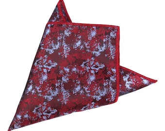 Red Metallic Pocket Square | red handkerchief | red wedding | gift for groom | gift for dad | best mans pocket square | red blue square