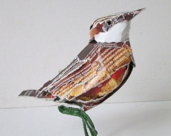Bittern, bird made of packaging material