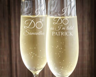 I Do as I'm Told Engraved Wedding Toasting Flutes - Personalized Toasting Flutes (PPD2023)