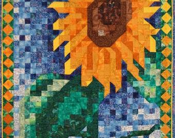 Quilt Pattern - Sunflower Mosaic Art Quilt Pattern - Immediate Download PDF
