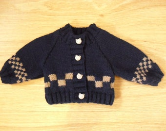 Navy and fawn baby cardigan - newborn