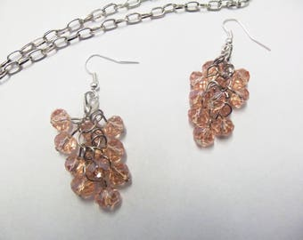 Adornment necklace and earrings orange pink grapes