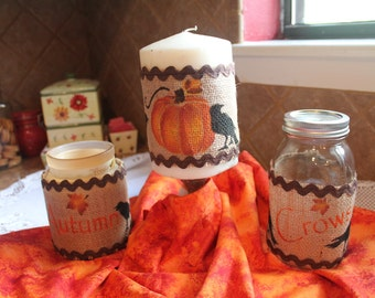 Fall Trio of Burlap Jar Wraps....Set of Three (3)...Pumpkins, Crows...Fall Decor...Halloween Decor...Thanksgiving Decor...Home Decor.