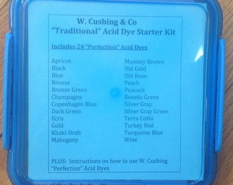 """W. Cushing & Co """"Perfection"""" Acid Dye TRADITIONAL Starter Kit with 24 acid dyes and general instructions"""