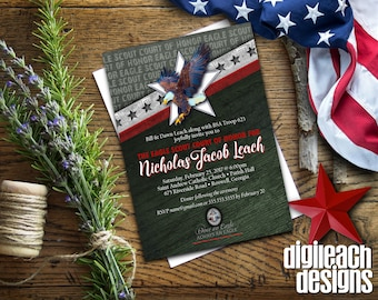 Eagle Scout Court of Honor Invitation: Wings and Star Bars A - Digital File