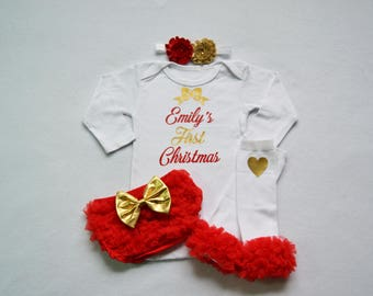 personalized baby girl christmas outfit - red and gold baby girl christmas - my first christmas baby girl outfit - my 1st christmas baby