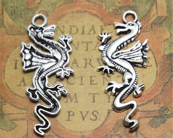 7pcs dragon Charms silver tone dragon charm pendant 50x21mm ASD2035
