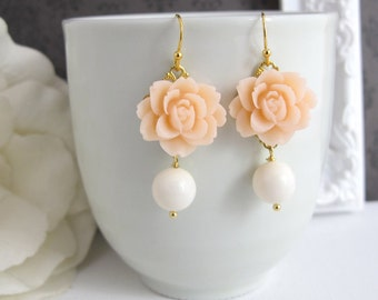 Light Peach Rose Earrings. Spring Summer with White Ivory Pearl Drops Floral Ear Accessory. Swarovski Ivory Pearl, Lead Free Ear Jewelry