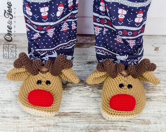 Reindeer Booties - PDF Crochet Pattern - Adult sizes ( Woman US 3-4, 5-6, 7-8, 9-10 ) - Shoes Adult Slippers