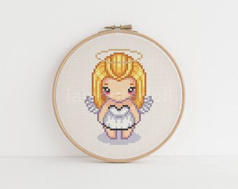 Angel - a cute pixel art counted cross stitch pattern