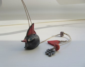 ceramic Marionette BlacK BirD BirD on string--Chrsitmas gift--handmade-Gift home decor under 50 USD