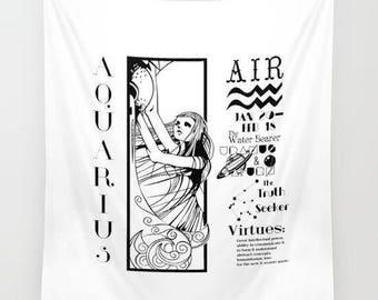 Aquarius/Wall Hanging Tapestry/Tapestry/Illustration/Font/Custom/Black and White/Astrology/Zodiac Sign/Horoscope/Design/Modern Art/B&W/Art