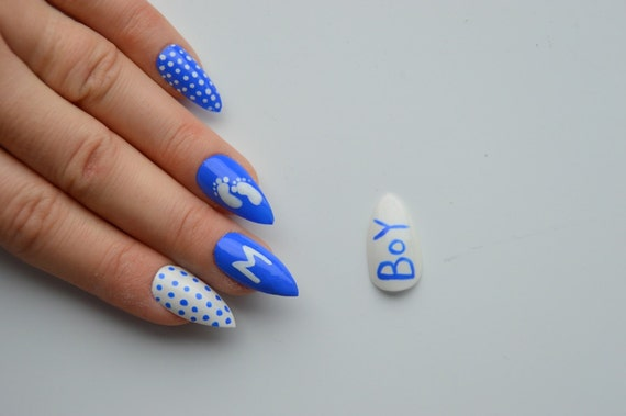 Items similar to Baby shower stiletto nails, it's a boy nails, stick on  nails, press on nails, nail designs, nail art, stiletto nails, pointy nails  on Etsy - Items Similar To Baby Shower Stiletto Nails, It's A Boy Nails, Stick