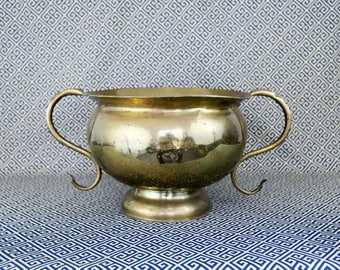 Hand forged Large Brass Urn or Planter with Handles