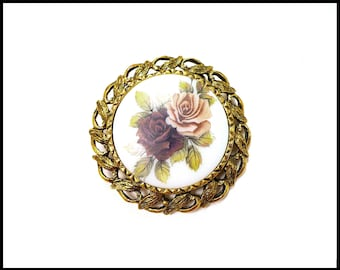 Hand Painted Ceramic Brooch, Purple Roses, Lavender Roses, Violet Brooch, Gold Filigree Frame, Collar Brooch, Mothers Day Gift For Her