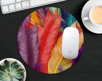 Feather Mouse Pad Feathers Mouse Mat Desk Accessories Nature Mouse Pad Mother Gift Idea Mouse Mat Computer MousePad Decor Office Supplies