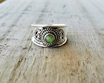 Opal Ring - Sterling Silver Gypsy Ring - October Birthstone - Fire Opal Band Ring - Australian Opal Jewelry - Tribal Jewelry