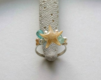 Real Starfish Ring, Wire Wrapped Beach Ring, Adjustable Mermaid Ring