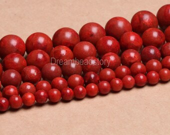 Natural Red Sponge Coral 6mm 8mm 10mm 12mm 14mm Red Coral Beads for Jewelry Making (B100)