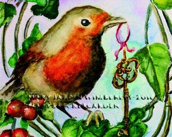 Robin Watercolor, English Robin, Bird Art Print, Secret Garden, Bird Totem, Key to Garden, Nursery Decor, Bird in Wreath