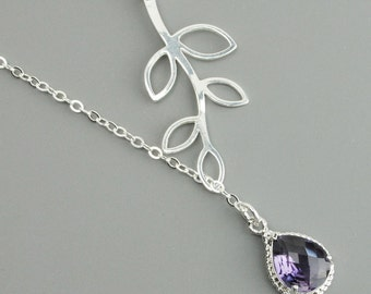 Purple Necklace - Sterling Silver Leaf Branch Necklace - Dark Purple Amethyst Pendant Necklace - Bridesmaid Necklace - Lariat Necklace