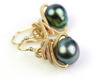 Gray Green Tahitian Pearl Earrings with Gold Fill Coils