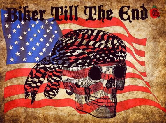 biker skull american flag digital original art print, motorcycle art, original artwork, modern art, stars and stripes, art for men, skeleton