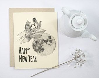 5 Happy New Year Cards: Foxes on paper rocket with top hat and monocle, steampunk style, handmade card