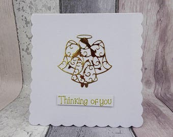 Angel sympathy card, Handmade angel card, Thinking of you card, With sympathy card, Condolences card, Choose foiled gold or silver card