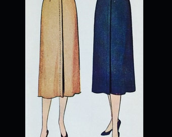Vintage 50s Classic Day Midi Length Skirt Sewing Pattern 9876 W26