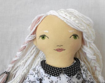 "READY TO SHIP - Angelique - 20"" Heirloom, One-of-a-kind, Fabric Doll - Black and White - Rag doll - Handmade - Fashion - Decor"