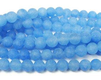 Blue Jade Matte Round Gemstone Beads
