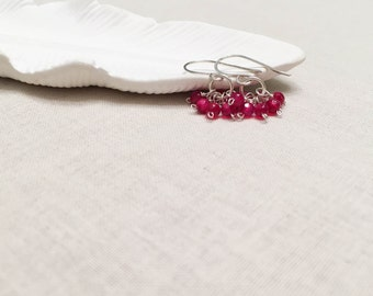 Fuchsia Agate Sterling Silver Cluster Drops - 925 Sterling Silver Wrapped Neon Pink Agate Gemstone Earrings Gift for Her Girl Children