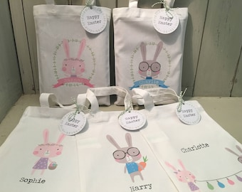 Personalised 20cm x 25cm cotton Easter egg hunt gift party bag & tag - 5 designs