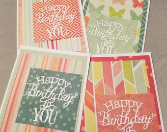 Happy Birthday, Greeting Cards, Folded Note Cards, Blank Inside, Die Cut Cards, Pack of Four, General Cards, Stationary, Special Occasion