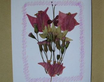 Handmade Left Handed Decorated Pressed Flower Embossed Blank Note Card