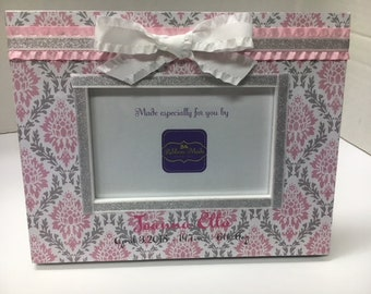 Baby Girl Birth Announcement Frame with Pink and Gray Damask with Silver Accents